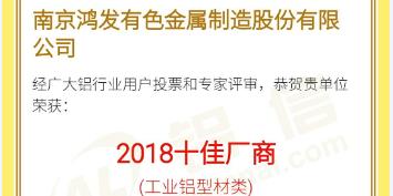 恭喜鸿发有色荣获2018铝行业十佳厂商!