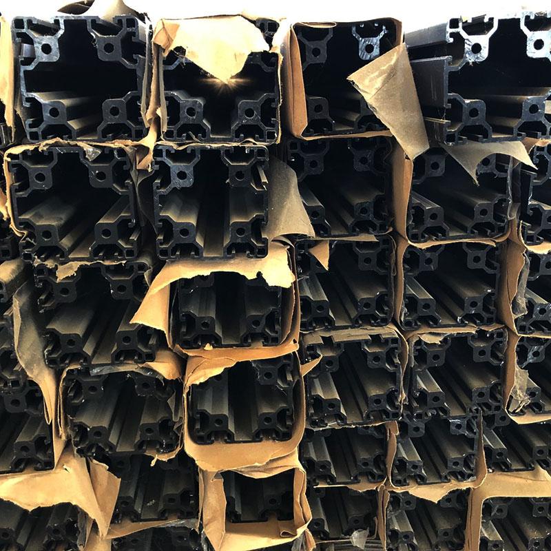 8080黑色氧化欧标工业铝型材库存清仓处理