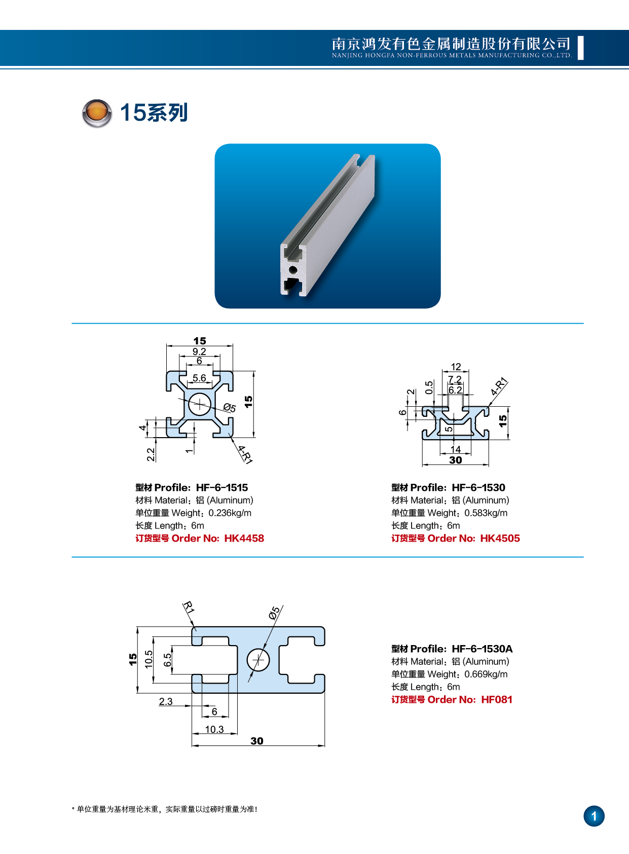 15系列工业铝型材